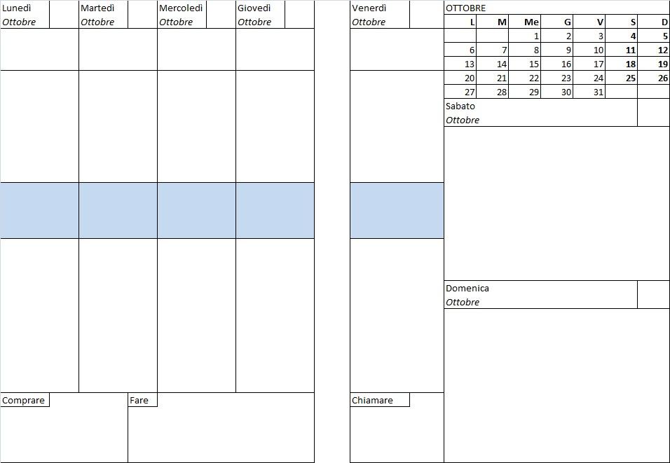 Conosciuto Agenda mensile da stampare (PDF) HV96