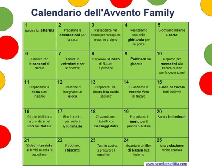 Calendario Dellavvento Da Stampare Per Bambini.Calendario Dell Avvento Family Da Stampare